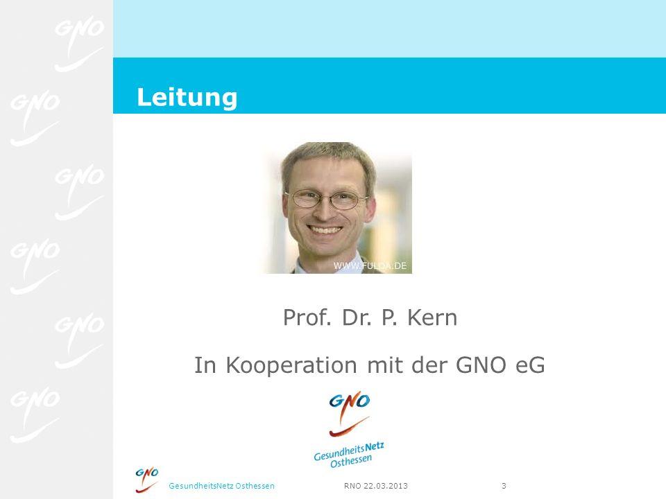 GesundheitsNetz Osthessen RNO 22.03.2013 3 Leitung Prof. Dr. P. Kern In Kooperation mit der GNO eG
