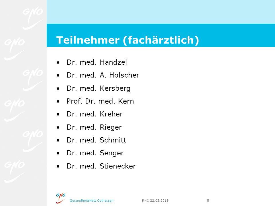 GesundheitsNetz Osthessen RNO 22.03.2013 5 Dr. med. Handzel Dr. med. A. Hölscher Dr. med. Kersberg Prof. Dr. med. Kern Dr. med. Kreher Dr. med. Rieger