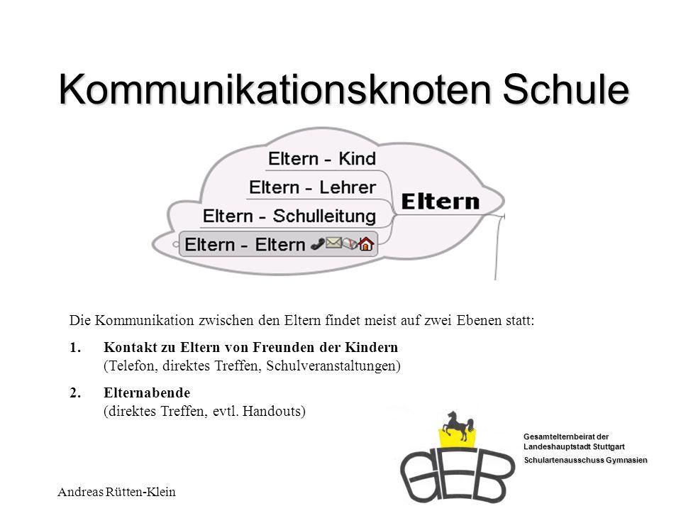 Gesamtelternbeirat der Landeshauptstadt Stuttgart Schulartenausschuss Gymnasien Andreas Rütten-Klein Kommunikationsknoten Schule Die Kommunikation zwi