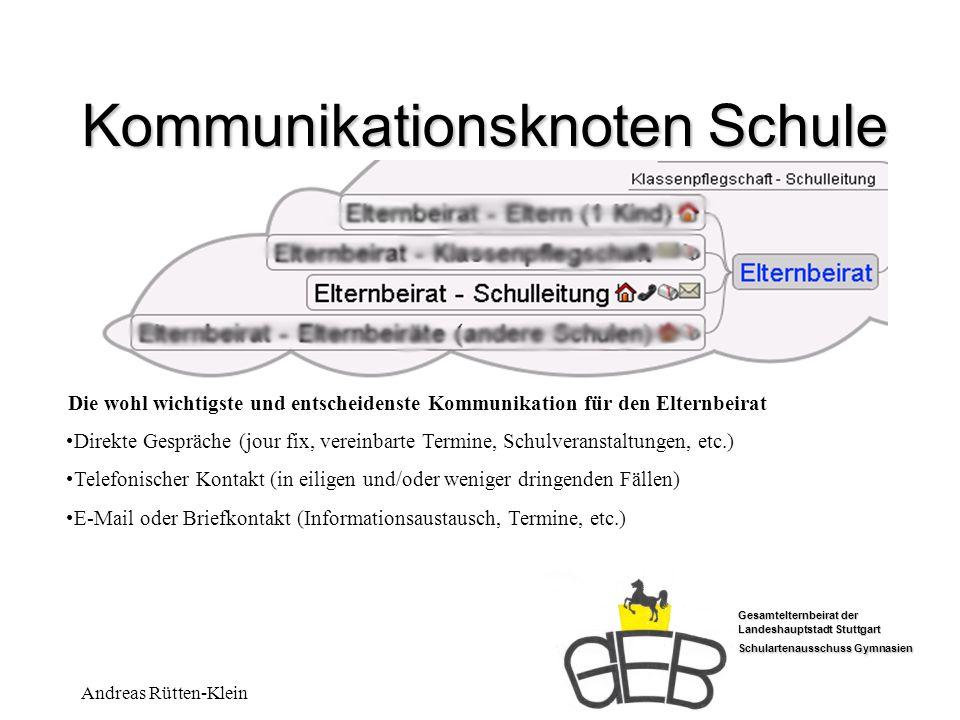 Gesamtelternbeirat der Landeshauptstadt Stuttgart Schulartenausschuss Gymnasien Andreas Rütten-Klein Kommunikationsknoten Schule Die wohl wichtigste u