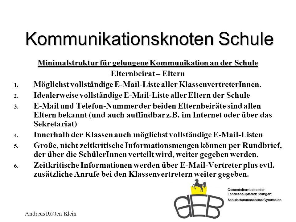 Gesamtelternbeirat der Landeshauptstadt Stuttgart Schulartenausschuss Gymnasien Andreas Rütten-Klein Kommunikationsknoten Schule Minimalstruktur für g