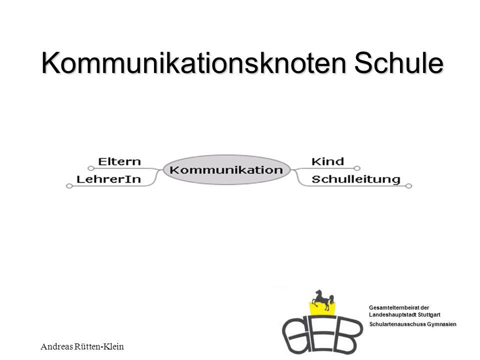 Gesamtelternbeirat der Landeshauptstadt Stuttgart Schulartenausschuss Gymnasien Andreas Rütten-Klein Kommunikationsknoten Schule Der Elternbeirat kümmert sich in der Regel nur auf Aufforderung der Klassenpflegschaftsvertretung um Einzelfälle.