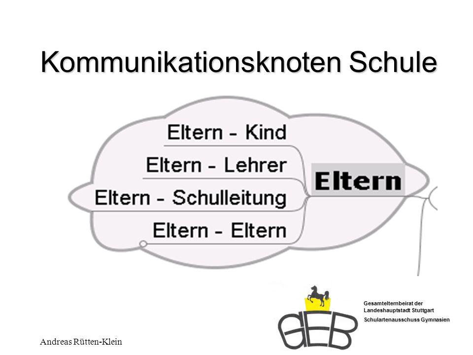 Gesamtelternbeirat der Landeshauptstadt Stuttgart Schulartenausschuss Gymnasien Andreas Rütten-Klein Kommunikationsknoten Schule Die Kommunikation zwischen Eltern und Kind ist unsere Hauptinformationsquelle über das Schulleben.