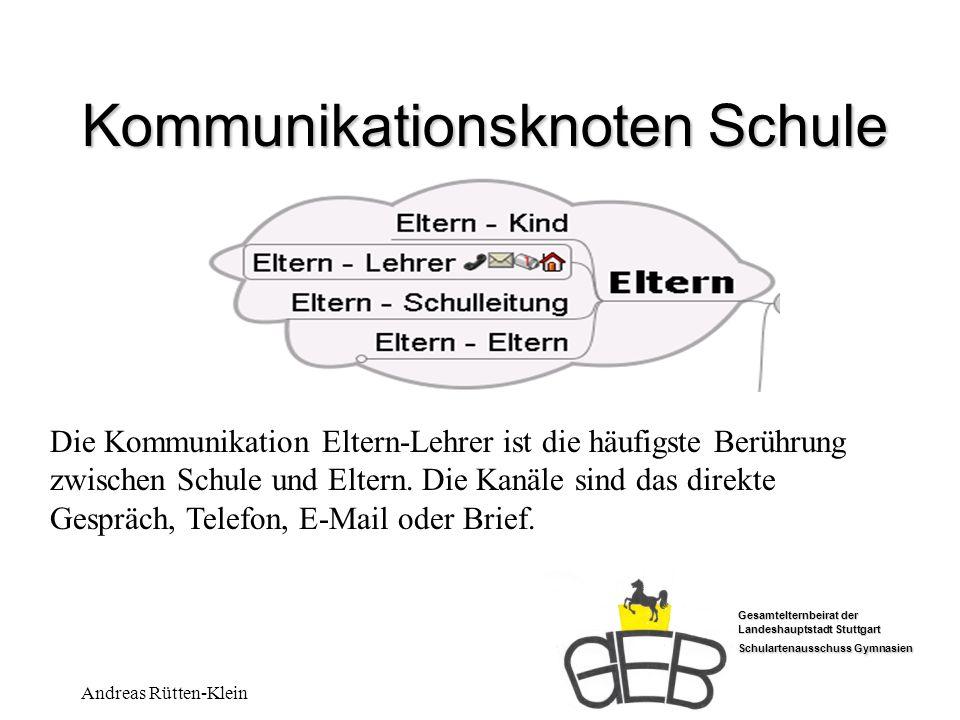 Gesamtelternbeirat der Landeshauptstadt Stuttgart Schulartenausschuss Gymnasien Andreas Rütten-Klein Kommunikationsknoten Schule Minimalstruktur für gelungene Kommunikation an der Schule Elternbeirat – Elternbeirat 1.