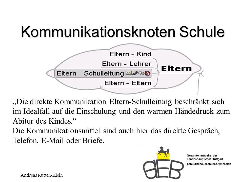 Gesamtelternbeirat der Landeshauptstadt Stuttgart Schulartenausschuss Gymnasien Andreas Rütten-Klein Kommunikationsknoten Schule Die direkte Kommunika