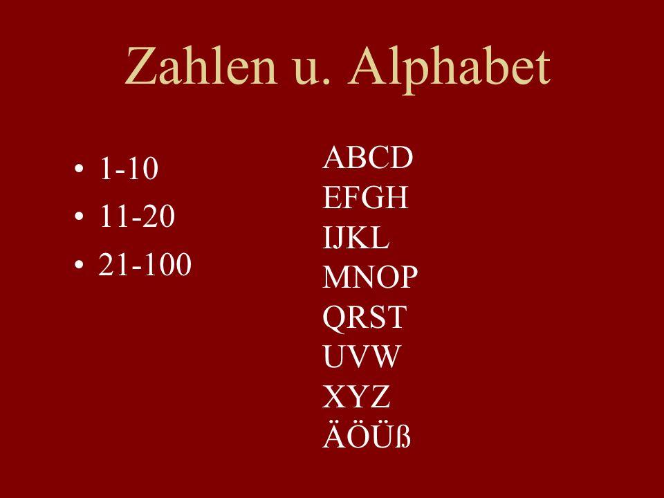 Zahlen u. Alphabet 1-10 11-20 21-100 ABCD EFGH IJKL MNOP QRST UVW XYZ ÄÖÜß