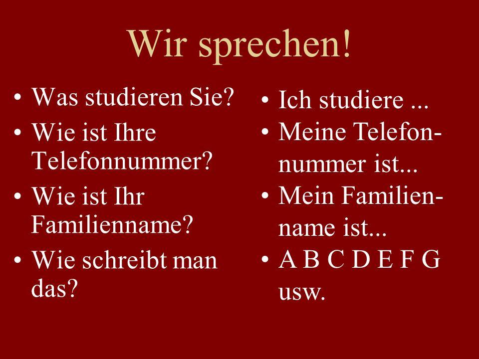 Aufsatz: Neue Studenten und Studentinnen Tell me about yourself.