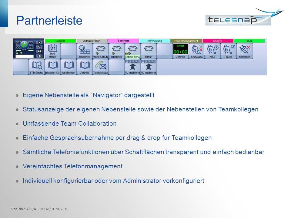 Partnerleiste Doc.No.: ASE/APP/PLM/ 0156 / DE Eigene Nebenstelle als Navigator dargestellt Statusanzeige der eigenen Nebenstelle sowie der Nebenstelle