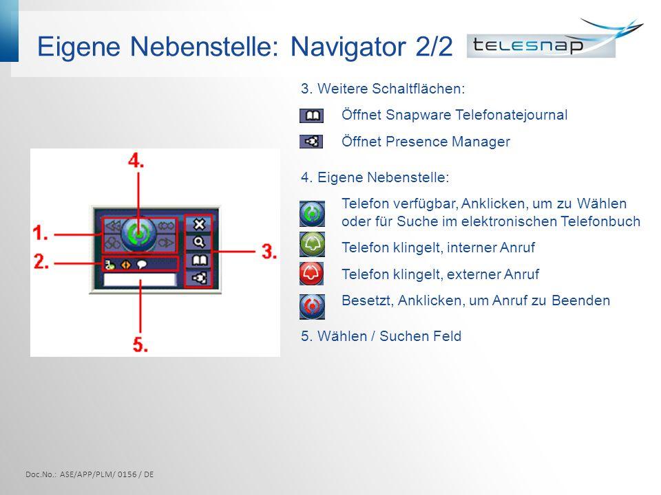 Eigene Nebenstelle: Navigator 2/2 3. Weitere Schaltflächen: Öffnet Snapware Telefonatejournal Öffnet Presence Manager 4. Eigene Nebenstelle: Telefon v
