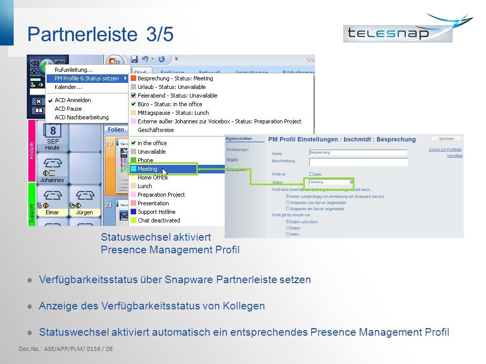 Partnerleiste 3/5 Statuswechsel aktiviert Presence Management Profil Verfügbarkeitsstatus über Snapware Partnerleiste setzen Anzeige des Verfügbarkeit