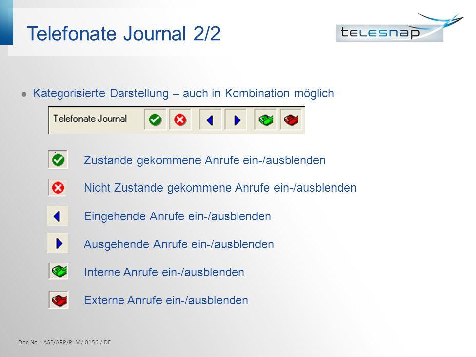 Telefonate Journal 2/2 Kategorisierte Darstellung – auch in Kombination möglich Zustande gekommene Anrufe ein-/ausblenden Nicht Zustande gekommene Anr