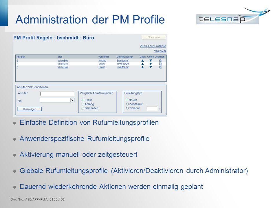 Administration der PM Profile Einfache Definition von Rufumleitungsprofilen Anwenderspezifische Rufumleitungsprofile Aktivierung manuell oder zeitgest
