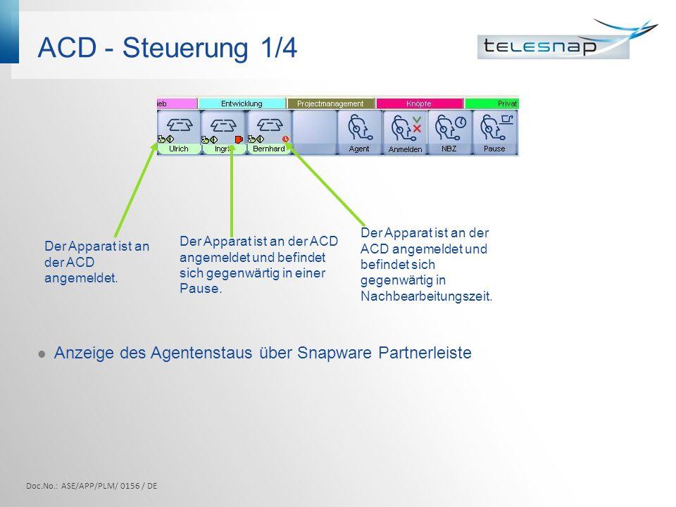 ACD - Steuerung 1/4 Doc.No.: ASE/APP/PLM/ 0156 / DE Anzeige des Agentenstaus über Snapware Partnerleiste Der Apparat ist an der ACD angemeldet und bef