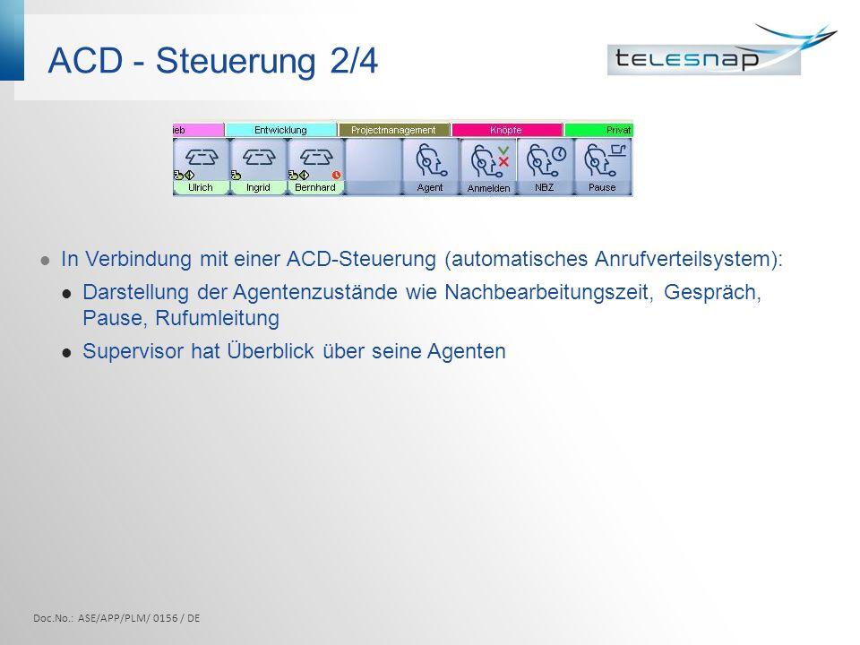 ACD - Steuerung 2/4 In Verbindung mit einer ACD-Steuerung (automatisches Anrufverteilsystem): Darstellung der Agentenzustände wie Nachbearbeitungszeit