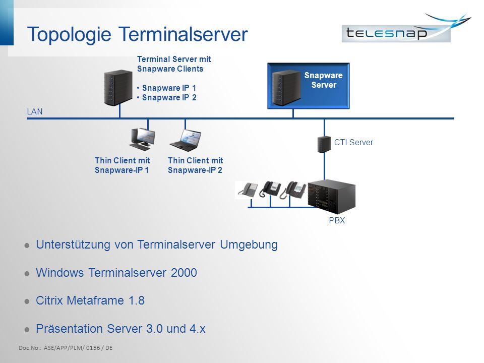 Topologie Terminalserver Unterstützung von Terminalserver Umgebung Windows Terminalserver 2000 Citrix Metaframe 1.8 Präsentation Server 3.0 und 4.x LA