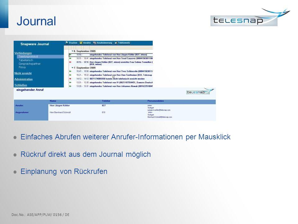 Journal Einfaches Abrufen weiterer Anrufer-Informationen per Mausklick Rückruf direkt aus dem Journal möglich Einplanung von Rückrufen Doc.No.: ASE/AP