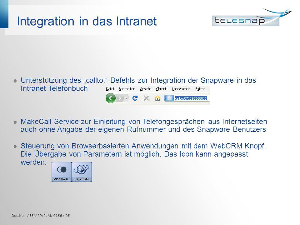 Integration in das Intranet Doc.No.: ASE/APP/PLM/ 0156 / DE Unterstützung des callto:-Befehls zur Integration der Snapware in das Intranet Telefonbuch