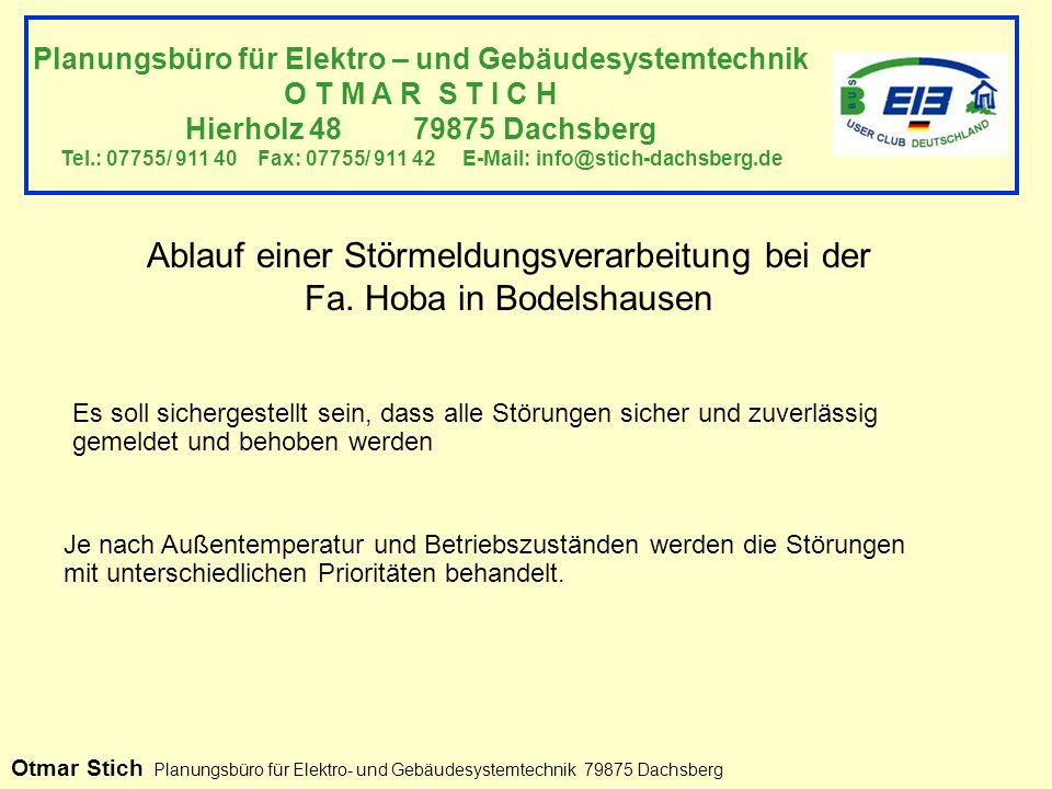 Planungsbüro für Elektro – und Gebäudesystemtechnik O T M A R S T I C H Hierholz 48 79875 Dachsberg Tel.: 07755/ 911 40 Fax: 07755/ 911 42 E-Mail: info@stich-dachsberg.de Ablauf einer Störmeldungsverarbeitung bei der Fa.