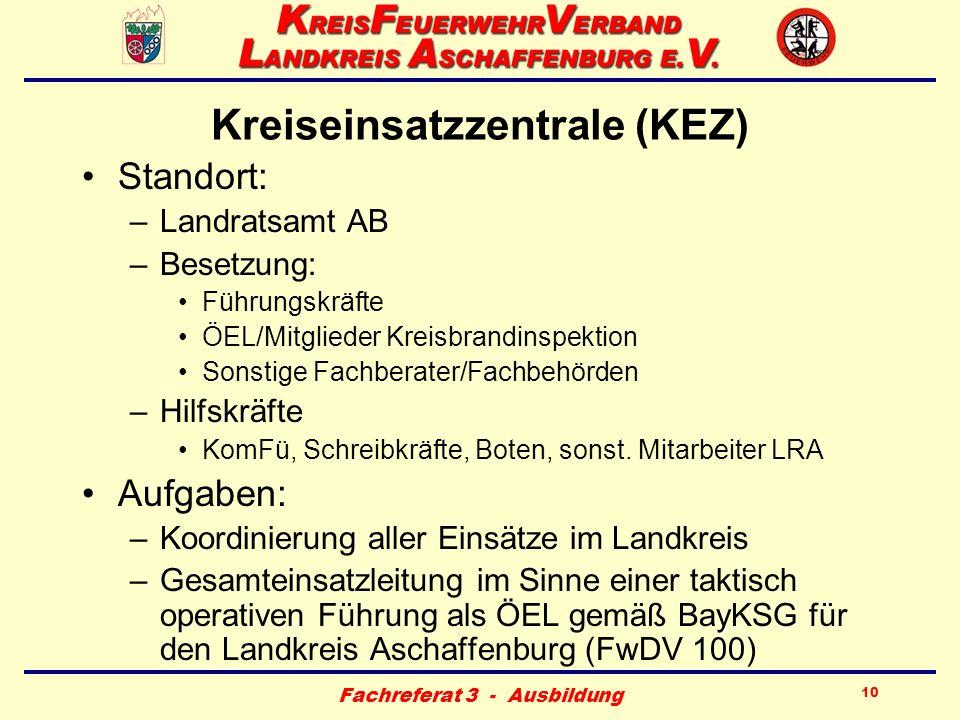 Fachreferat 3 - Ausbildung 10 Kreiseinsatzzentrale (KEZ) Standort: –Landratsamt AB –Besetzung: Führungskräfte ÖEL/Mitglieder Kreisbrandinspektion Sons