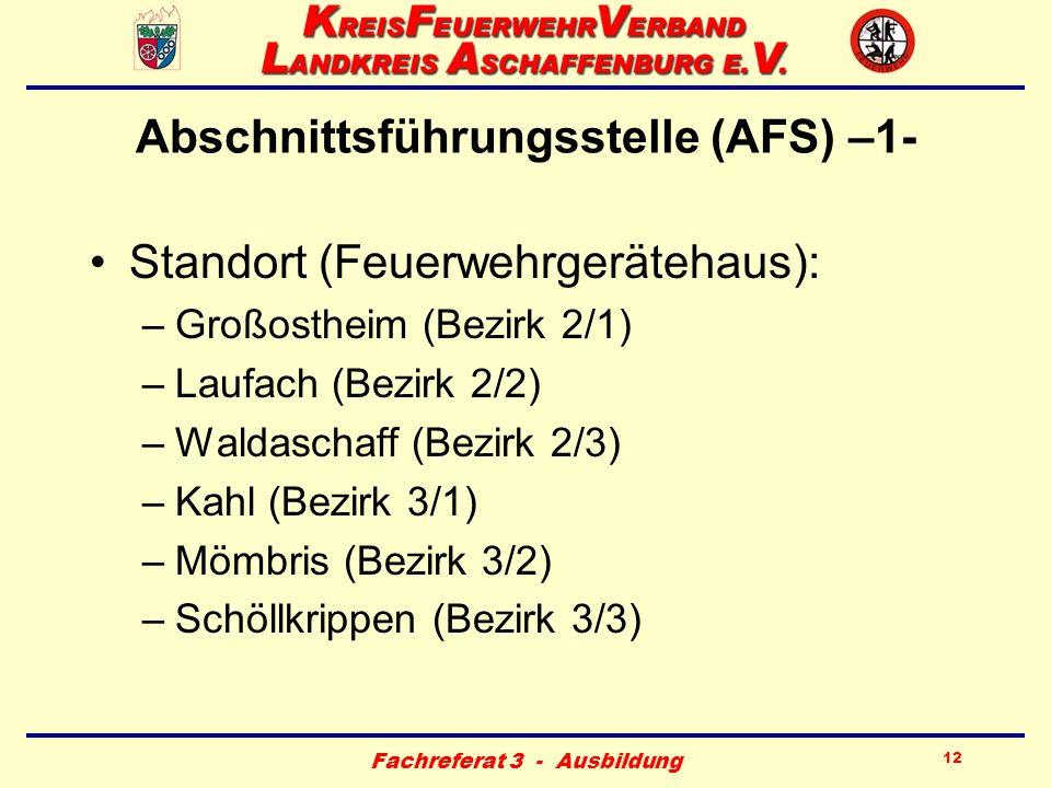 Fachreferat 3 - Ausbildung 12 Abschnittsführungsstelle (AFS) –1- Standort (Feuerwehrgerätehaus): –Großostheim (Bezirk 2/1) –Laufach (Bezirk 2/2) –Wald