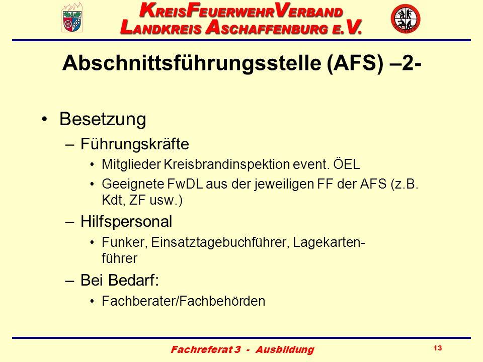Fachreferat 3 - Ausbildung 13 Abschnittsführungsstelle (AFS) –2- Besetzung –Führungskräfte Mitglieder Kreisbrandinspektion event. ÖEL Geeignete FwDL a