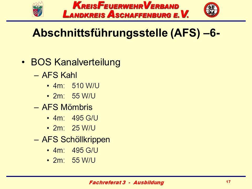 Fachreferat 3 - Ausbildung 17 Abschnittsführungsstelle (AFS) –6- BOS Kanalverteilung –AFS Kahl 4m:510 W/U 2m:55 W/U –AFS Mömbris 4m:495 G/U 2m:25 W/U