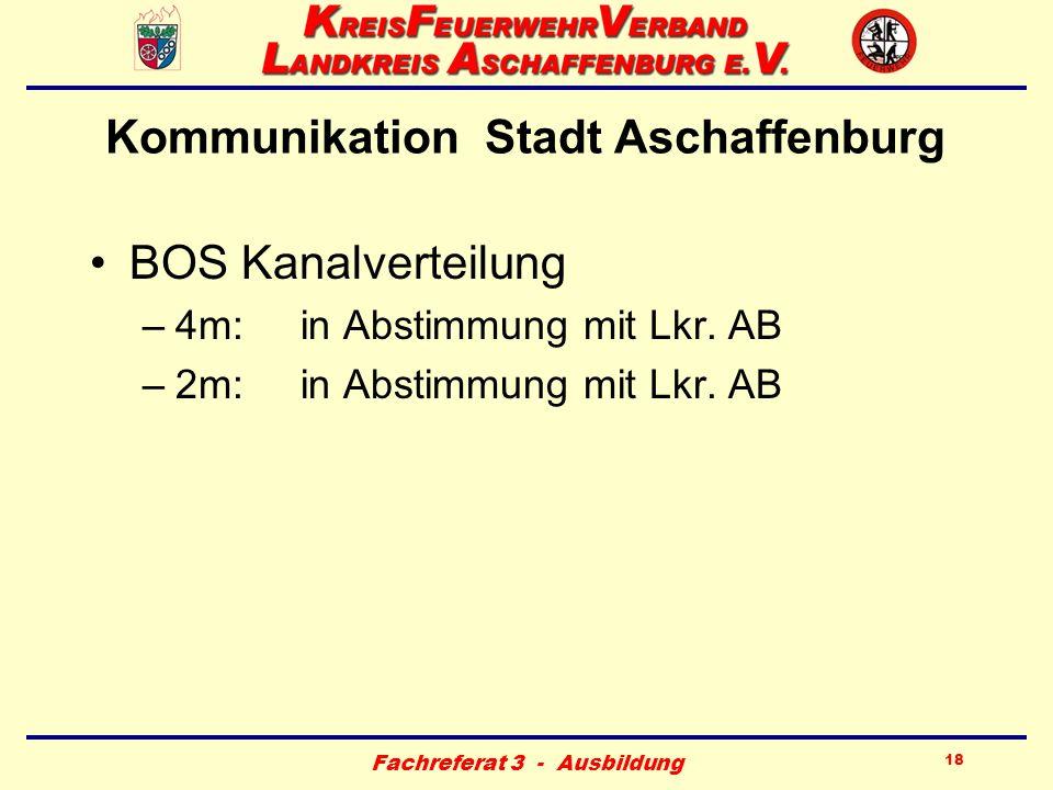 Fachreferat 3 - Ausbildung 18 Kommunikation Stadt Aschaffenburg BOS Kanalverteilung –4m:in Abstimmung mit Lkr. AB –2m:in Abstimmung mit Lkr. AB