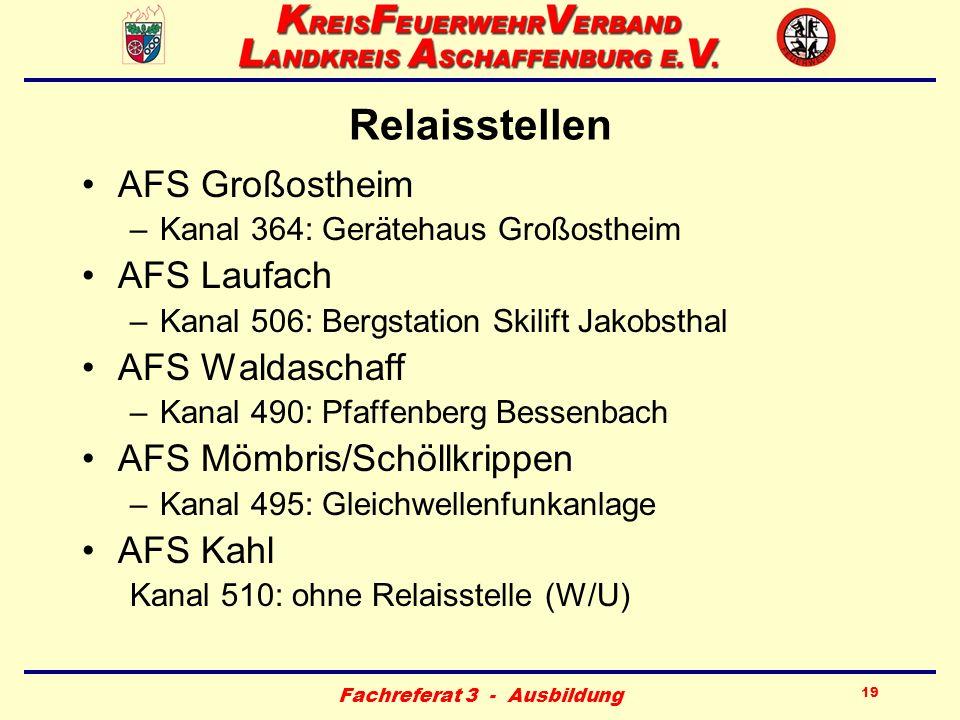 Fachreferat 3 - Ausbildung 19 Relaisstellen AFS Großostheim –Kanal 364: Gerätehaus Großostheim AFS Laufach –Kanal 506: Bergstation Skilift Jakobsthal