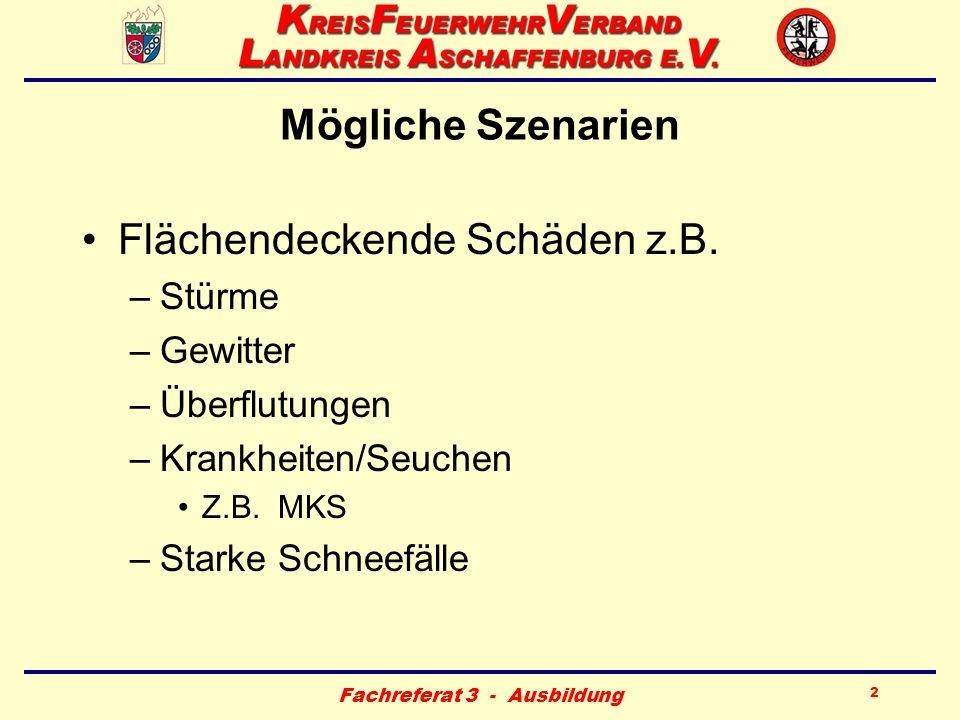 Fachreferat 3 - Ausbildung 23 Personelle Besetzung - Stab für außergewöhnliche Ereignisse (SAE) Örtliche Führungskräfte der Feuerwehr Gemeinde - Bürgermeister –Verwaltung z.B.