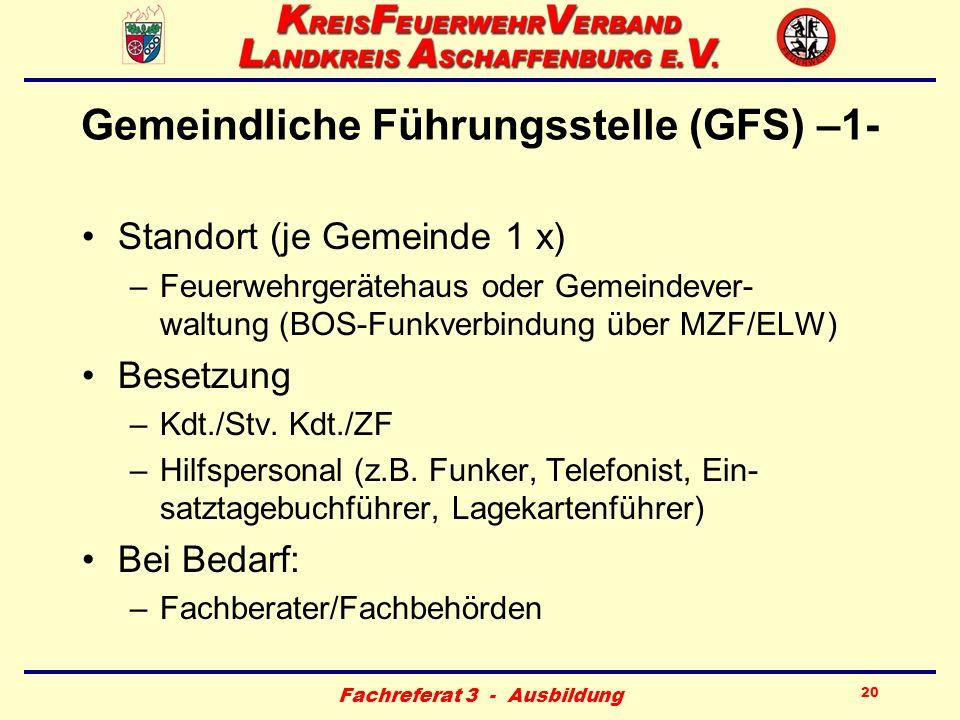 Fachreferat 3 - Ausbildung 20 Gemeindliche Führungsstelle (GFS) –1- Standort (je Gemeinde 1 x) –Feuerwehrgerätehaus oder Gemeindever- waltung (BOS-Fun