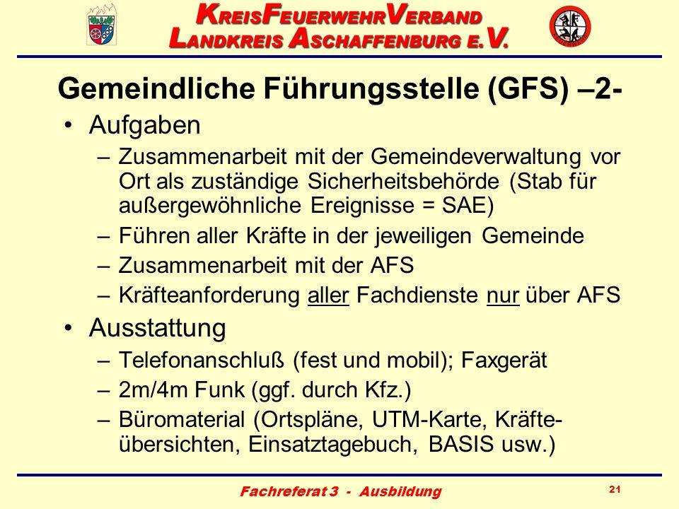Fachreferat 3 - Ausbildung 21 Gemeindliche Führungsstelle (GFS) –2- Aufgaben –Zusammenarbeit mit der Gemeindeverwaltung vor Ort als zuständige Sicherh