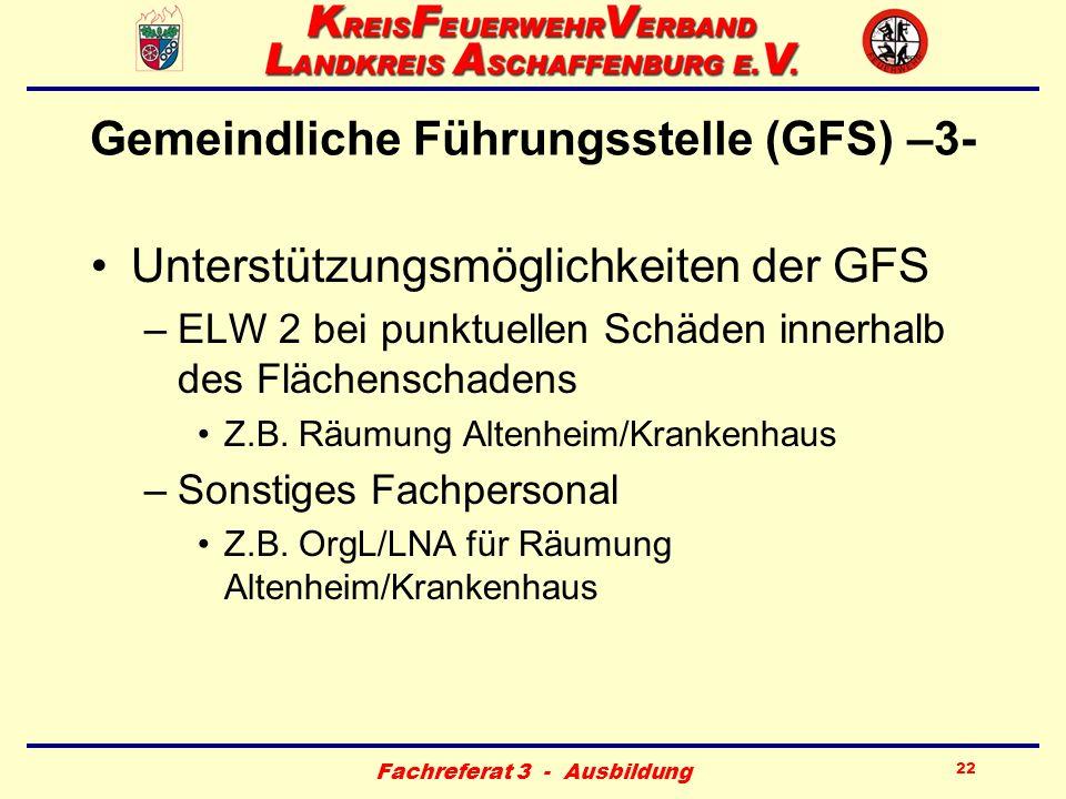 Fachreferat 3 - Ausbildung 22 Gemeindliche Führungsstelle (GFS) –3- Unterstützungsmöglichkeiten der GFS –ELW 2 bei punktuellen Schäden innerhalb des F