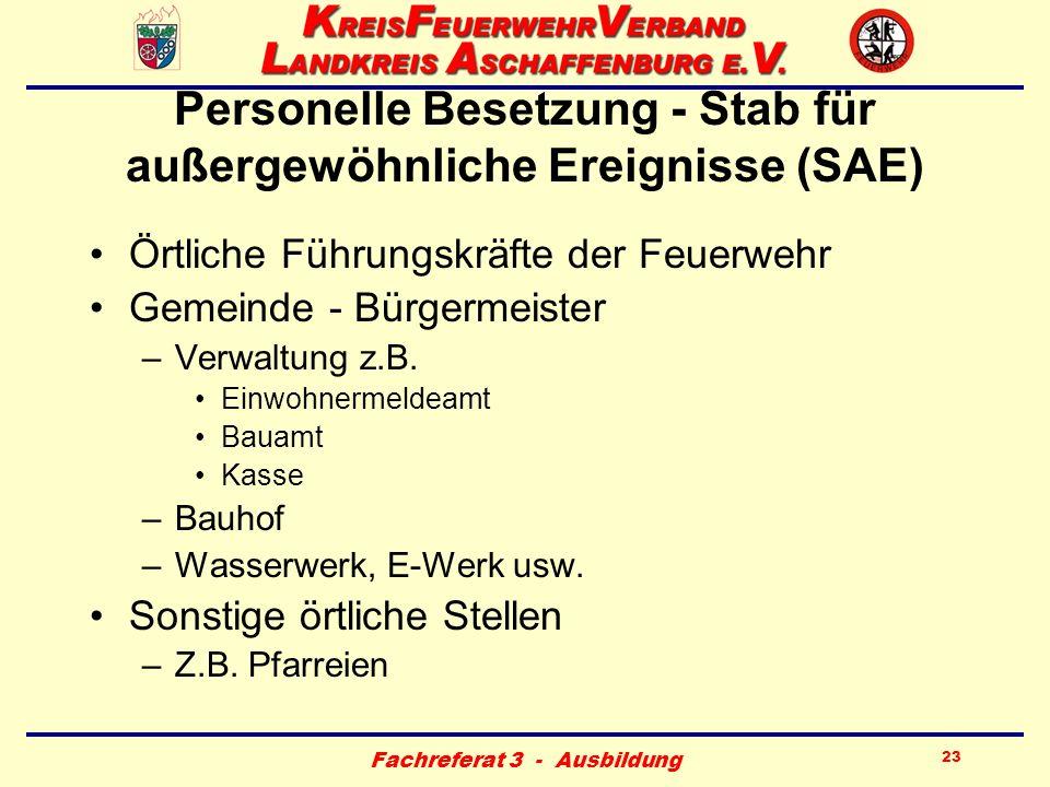 Fachreferat 3 - Ausbildung 23 Personelle Besetzung - Stab für außergewöhnliche Ereignisse (SAE) Örtliche Führungskräfte der Feuerwehr Gemeinde - Bürge