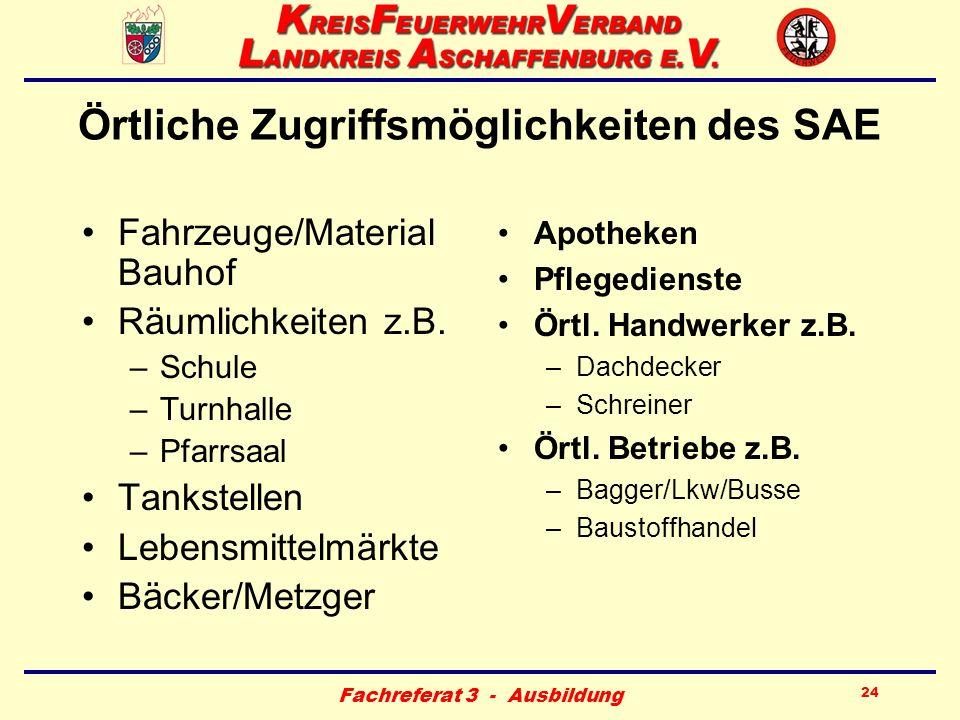 Fachreferat 3 - Ausbildung 24 Örtliche Zugriffsmöglichkeiten des SAE Fahrzeuge/Material Bauhof Räumlichkeiten z.B. –Schule –Turnhalle –Pfarrsaal Tanks