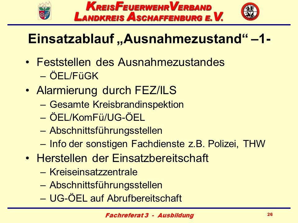 Fachreferat 3 - Ausbildung 26 Einsatzablauf Ausnahmezustand –1- Feststellen des Ausnahmezustandes –ÖEL/FüGK Alarmierung durch FEZ/ILS –Gesamte Kreisbr