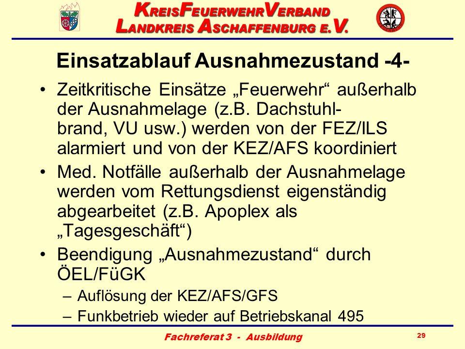 Fachreferat 3 - Ausbildung 29 Einsatzablauf Ausnahmezustand -4- Zeitkritische Einsätze Feuerwehr außerhalb der Ausnahmelage (z.B. Dachstuhl- brand, VU