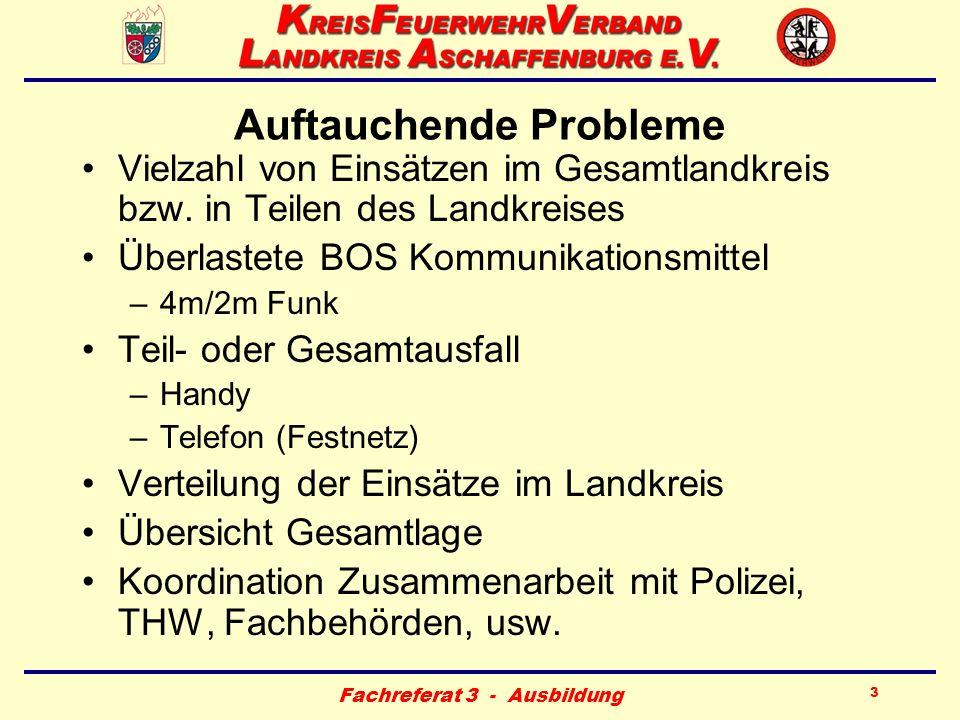 Fachreferat 3 - Ausbildung 3 Auftauchende Probleme Vielzahl von Einsätzen im Gesamtlandkreis bzw. in Teilen des Landkreises Überlastete BOS Kommunikat