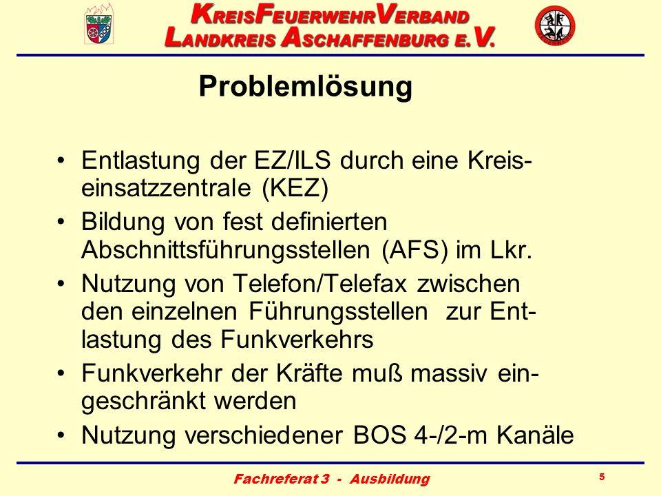 Fachreferat 3 - Ausbildung 5 Problemlösung Entlastung der EZ/ILS durch eine Kreis- einsatzzentrale (KEZ) Bildung von fest definierten Abschnittsführun