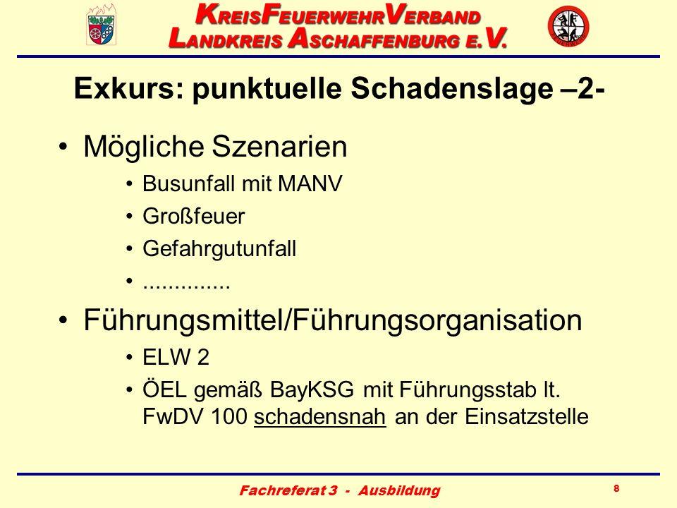 Fachreferat 3 - Ausbildung 8 Exkurs: punktuelle Schadenslage –2- Mögliche Szenarien Busunfall mit MANV Großfeuer Gefahrgutunfall.............. Führung