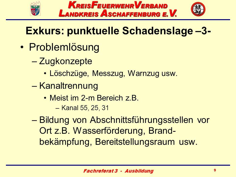 Fachreferat 3 - Ausbildung 20 Gemeindliche Führungsstelle (GFS) –1- Standort (je Gemeinde 1 x) –Feuerwehrgerätehaus oder Gemeindever- waltung (BOS-Funkverbindung über MZF/ELW) Besetzung –Kdt./Stv.