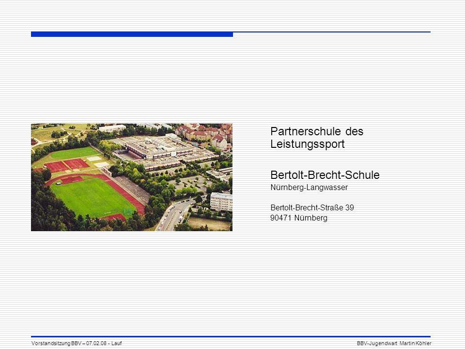 Partnerschule des Leistungssport Bertolt-Brecht-Schule Nürnberg-Langwasser Bertolt-Brecht-Straße 39 90471 Nürnberg Vorstandsitzung BBV – 07.02.08 - LaufBBV-Jugendwart Martin Köhler