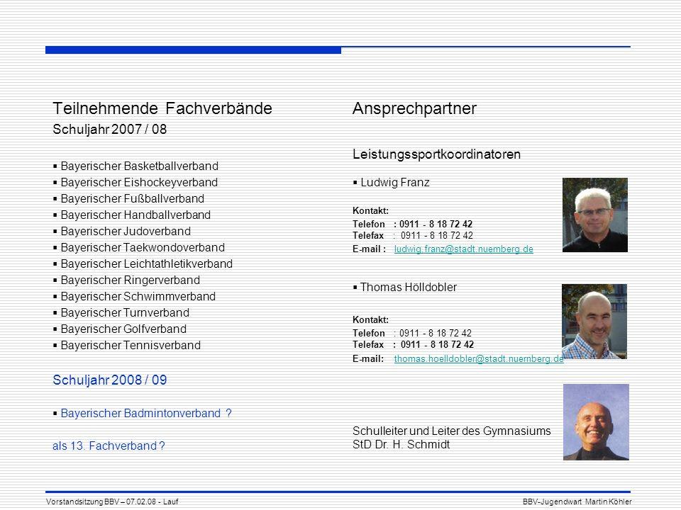 Teilnehmende Fachverbände Schuljahr 2007 / 08 Bayerischer Basketballverband Bayerischer Eishockeyverband Bayerischer Fußballverband Bayerischer Handba