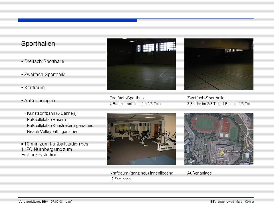 Sporthallen Dreifach-Sporthalle Zweifach-Sporthalle Kraftraum Außenanlagen - Kunststoffbahn (6 Bahnen) - Fußballplatz (Rasen) - Fußballplatz (Kunstrasen) ganz neu - Beach Volleyball ganz neu 10 min zum Fußballstadion des 1.