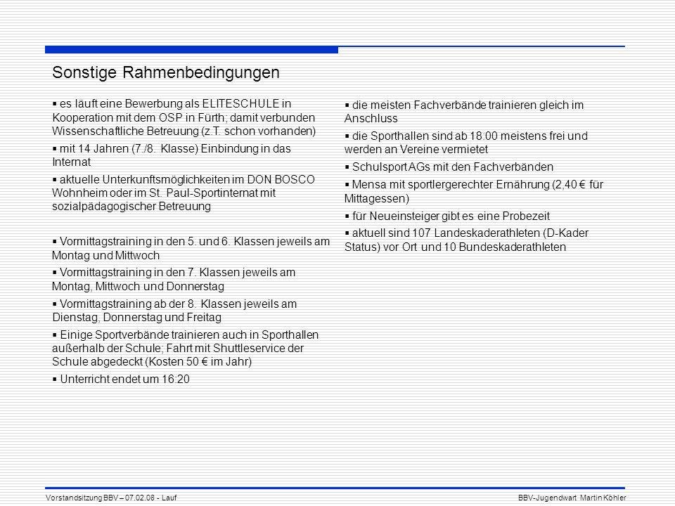 Sonstige Rahmenbedingungen es läuft eine Bewerbung als ELITESCHULE in Kooperation mit dem OSP in Fürth; damit verbunden Wissenschaftliche Betreuung (z.T.