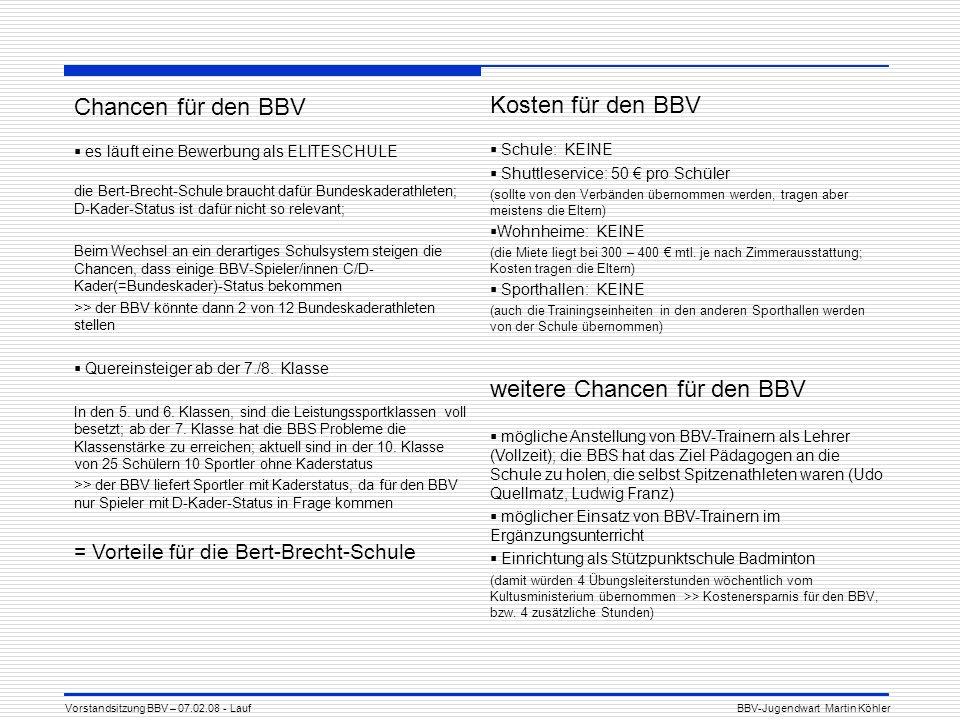 Chancen für den BBV es läuft eine Bewerbung als ELITESCHULE die Bert-Brecht-Schule braucht dafür Bundeskaderathleten; D-Kader-Status ist dafür nicht so relevant; Beim Wechsel an ein derartiges Schulsystem steigen die Chancen, dass einige BBV-Spieler/innen C/D- Kader(=Bundeskader)-Status bekommen >> der BBV könnte dann 2 von 12 Bundeskaderathleten stellen Quereinsteiger ab der 7./8.
