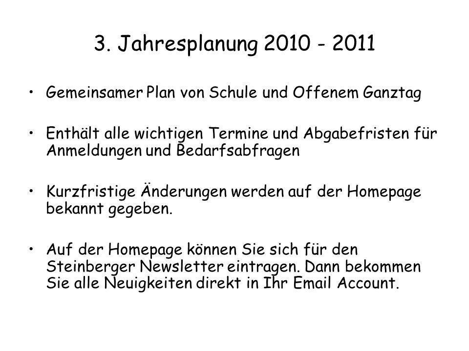 3. Jahresplanung 2010 - 2011 Gemeinsamer Plan von Schule und Offenem Ganztag Enthält alle wichtigen Termine und Abgabefristen für Anmeldungen und Beda
