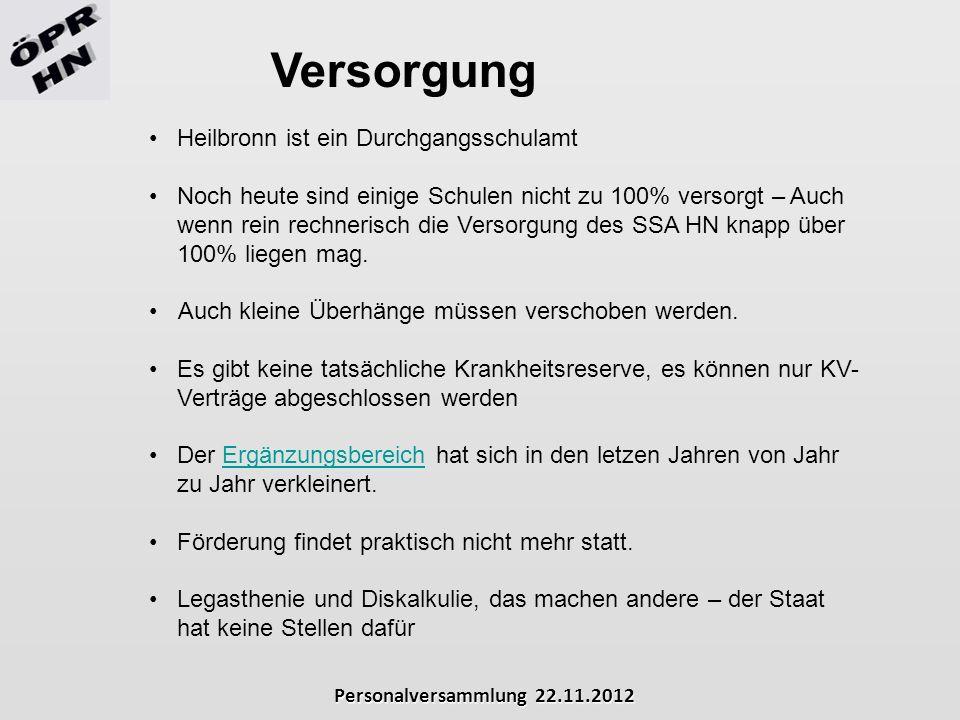 Personalversammlung 22.11.2012 Versorgung Heilbronn ist ein Durchgangsschulamt Noch heute sind einige Schulen nicht zu 100% versorgt – Auch wenn rein