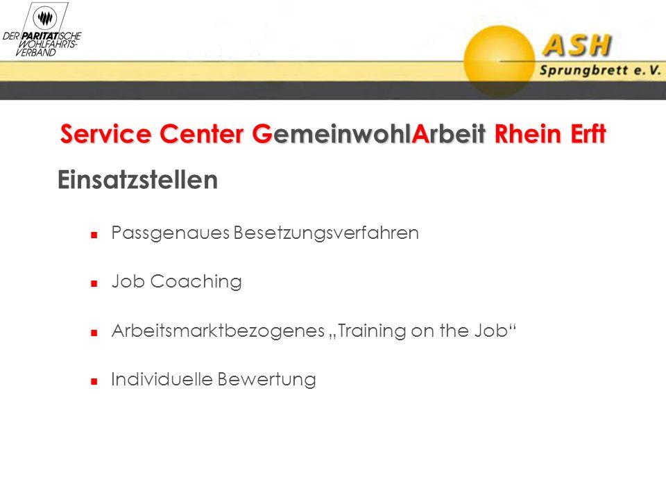 Service Center GemeinwohlArbeit Rhein Erft Einsatzstellen Passgenaues Besetzungsverfahren Job Coaching Arbeitsmarktbezogenes Training on the Job Indiv