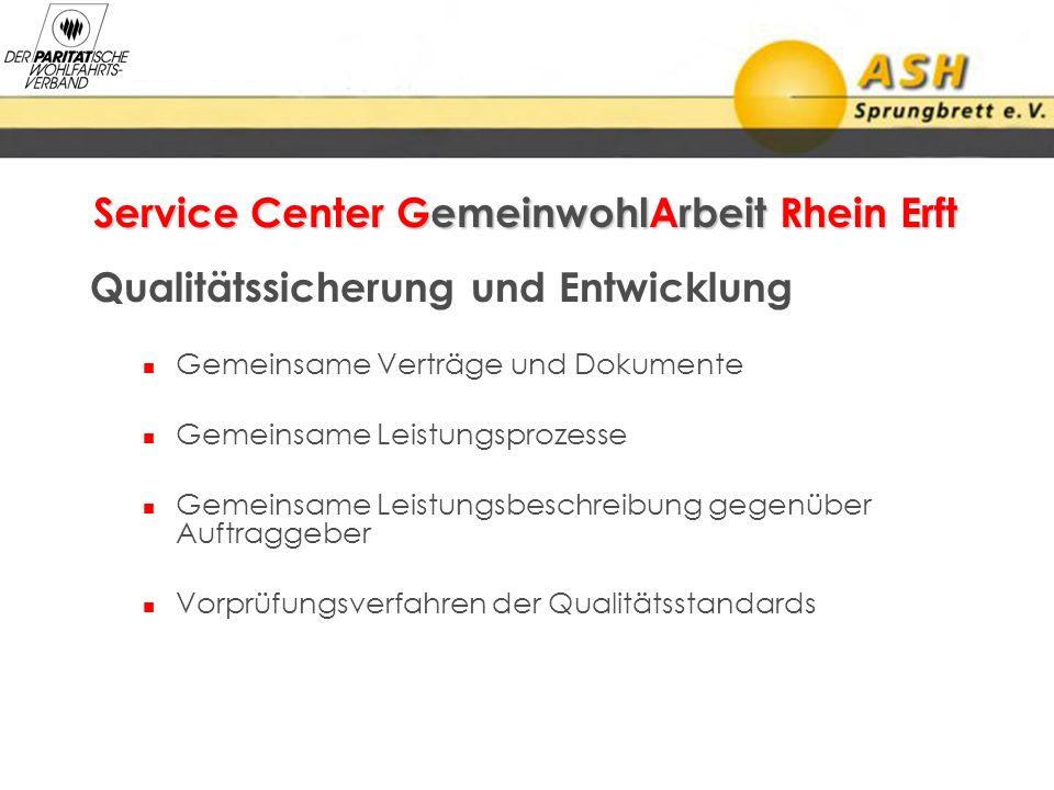 Service Center GemeinwohlArbeit Rhein Erft Qualitätssicherung und Entwicklung Gemeinsame Verträge und Dokumente Gemeinsame Leistungsprozesse Gemeinsam
