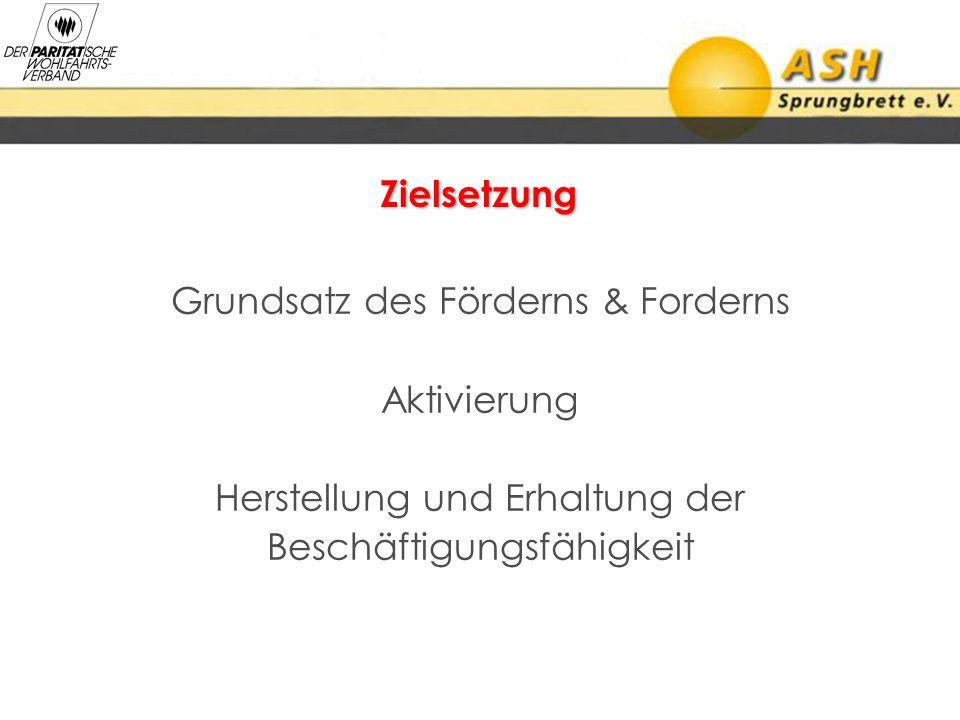 Zielsetzung Grundsatz des Förderns & Forderns Aktivierung Herstellung und Erhaltung der Beschäftigungsfähigkeit
